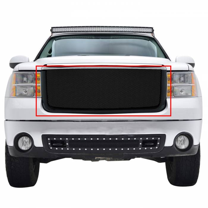 Paramount Automotive - Stainless Steel Wire Mesh Packaged Grille Black #44-0829