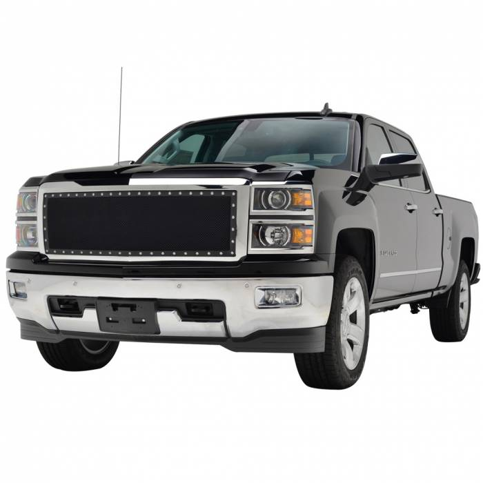 Paramount - Chrome Shell/Black Mesh Evolution Stainless Steel Wire Mesh Packaged Grille #46-0344