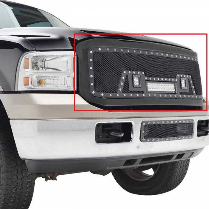 Paramount Automotive - Black Evolution Stainless Steel Wire Mesh Packaged Grille w/ LED #48-0804