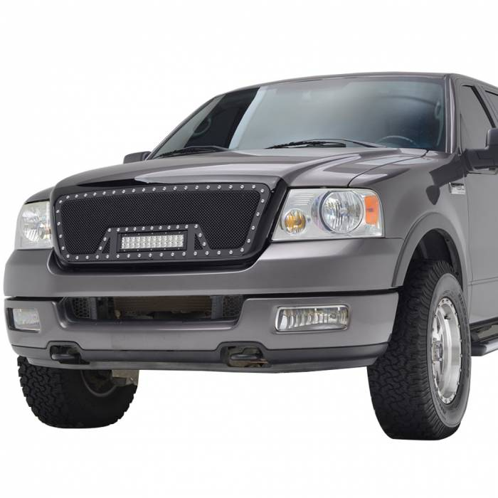 Paramount Automotive - Black Evolution Stainless Steel Wire Mesh Packaged Grille w/ LED #48-0807