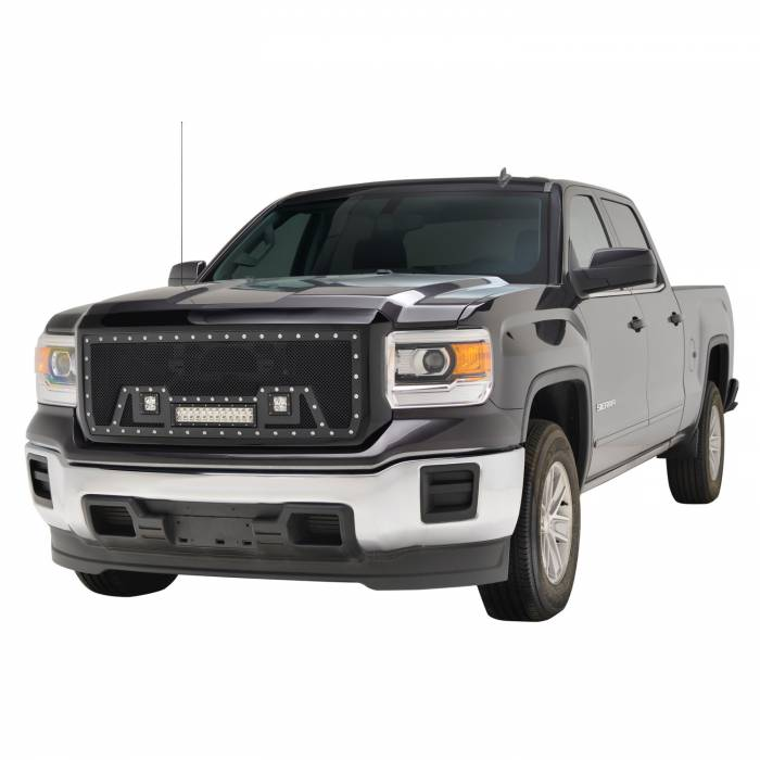 Paramount Automotive - Black Evolution Stainless Steel Wire Mesh Packaged Grille w/ LED #48-0851