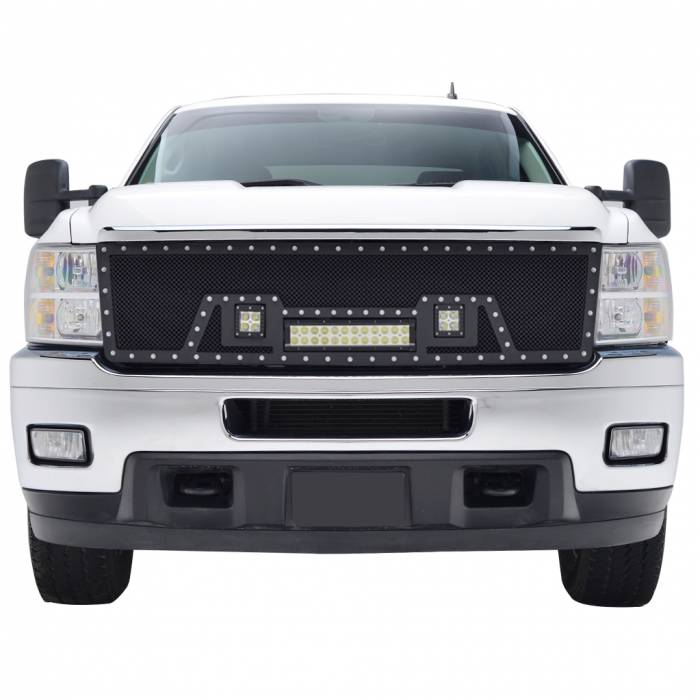 Paramount Automotive - Black Evolution Stainless Steel Wire Mesh Cutout Grille w/ LED #48-0930