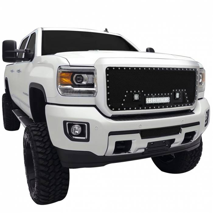 Paramount Automotive - Black Evolution Stainless Steel Wire Mesh Cutout Grille w/ LED #48-0968