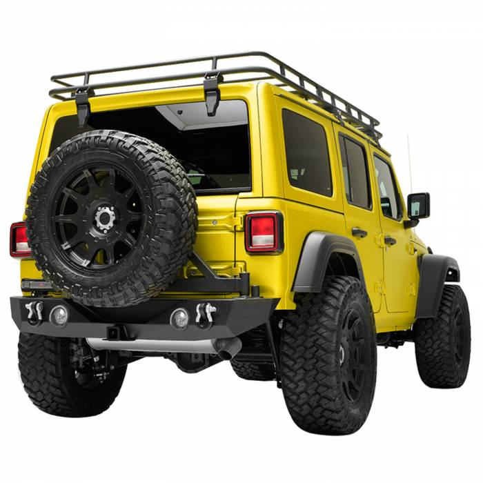 Paramount Automotive - 18-19 Jeep Wrangler JL Rear Bumper with Secure Lock Tire Carrier + Two12W LED Lights and Color Light Frames and Adaptor for OE back-up Camara #51-8011L