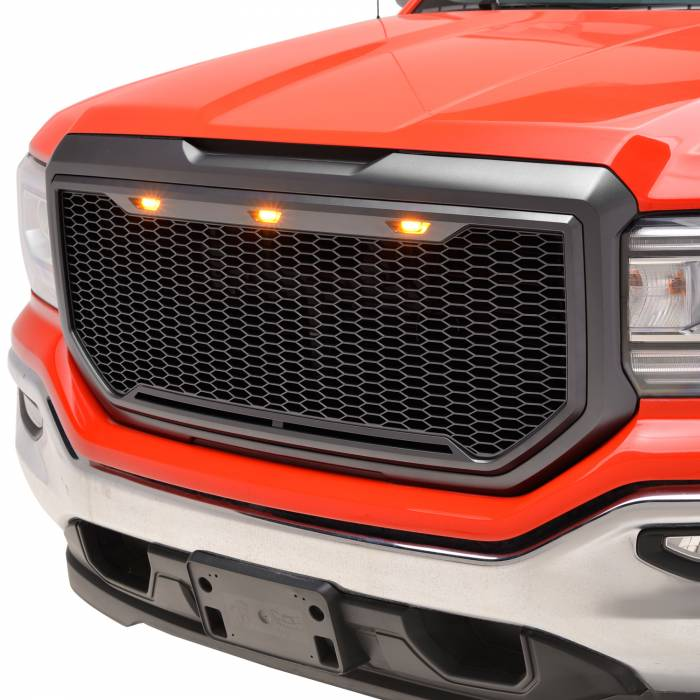 Paramount Automotive - ABS LED Matte Black Impulse Packaged Grille #41-0194MB