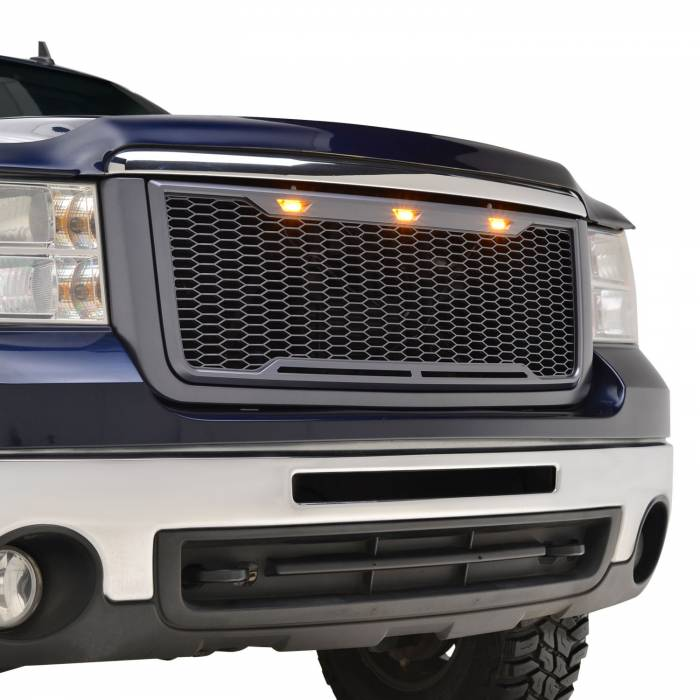 Paramount Automotive - ABS LED Metallic Charcoal Gray Impulse Mesh Packaged Grille #41-0179MCG