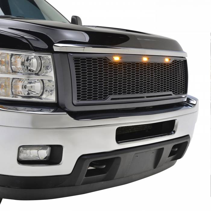 Paramount Automotive - ABS LED Metallic Charcoal Gray Impulse Mesh Packaged Grille #41-0181MCG