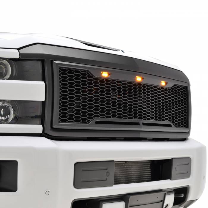 Paramount Automotive - ABS LED Metallic Charcoal Gray Impulse Mesh Packaged Grille #41-0190MCG