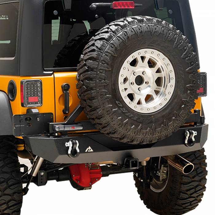 Paramount Automotive - Heavy Duty Rock Crawler Rear Bumper w/ Tire Carrier Black #51-0315