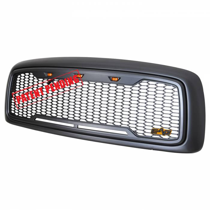 Paramount Automotive - ABS LED Metallic Charcoal Gray Impulse Mesh Packaged Grille #41-0197MCG