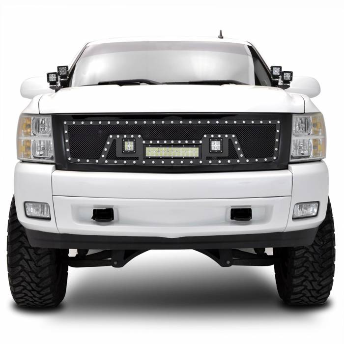 Paramount Automotive - Black Evolution Stainless Steel Wire Mesh Packaged Grille w/ LED #48-0844