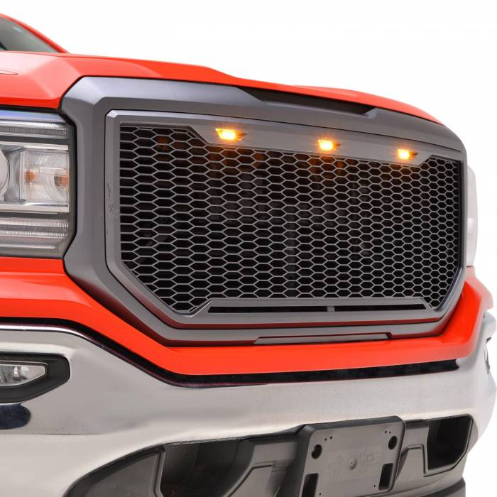 Paramount - ABS LED Metallic Charcoal Gray Impulse Mesh Packaged Grille #41-0194MCG