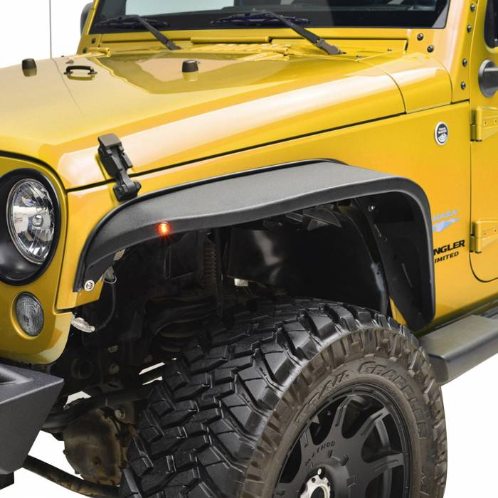 Paramount - 07-18 Jeep Wrangler JK R-5 Canyon Off-Road Front Fender Flares With LED