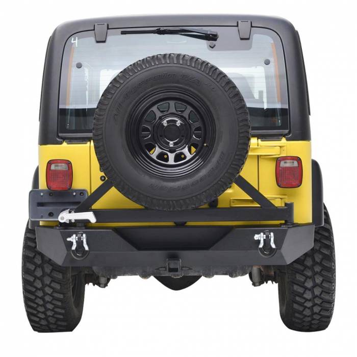Paramount - Heavy Duty Rock Crawler Rear Bumper w/ Tire Carrier Black #51-0015