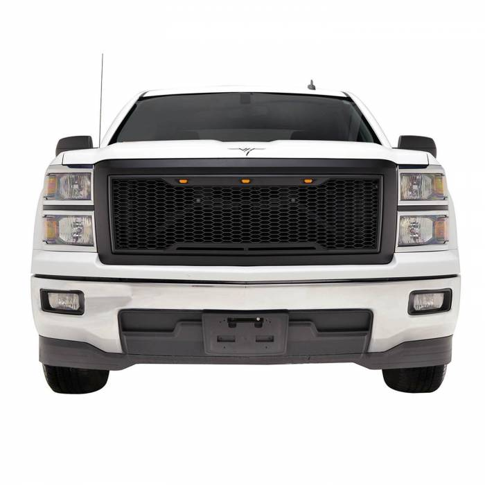 Paramount - 14-15 Chevy Silverado 1500 Matte Black ABS LED Impulse Mesh Grille