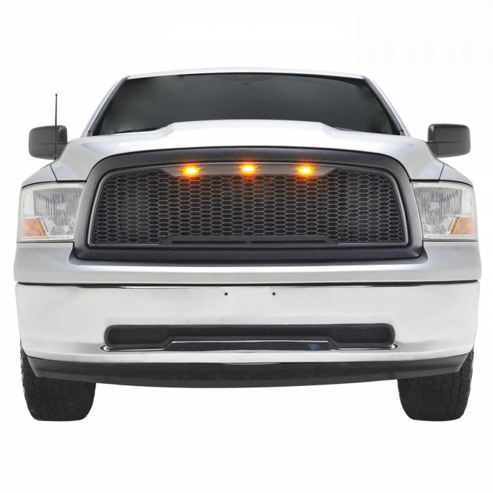 Paramount - 09-12 Dodge Ram 1500 Matte Black ABS LED Impulse Mesh Grille