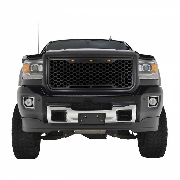Paramount - 15-19 GMC Sierra 2500/3500 Matte Black ABS LED Impulse Mesh Grille