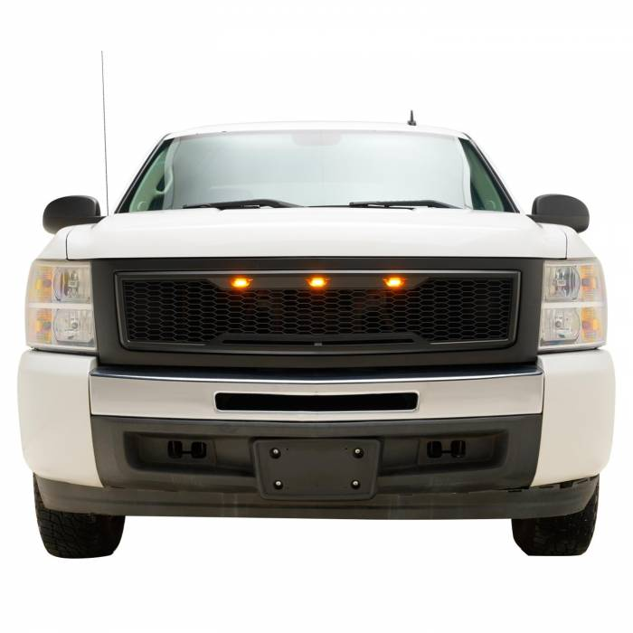 Paramount - 07-13 Chevy Silverado 1500 Matte Black ABS LED Impulse Mesh Grille