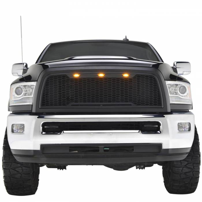 Paramount - 10-12 Dodge Ram 2500/3500 Matte Black ABS LED Impulse Mesh Grille