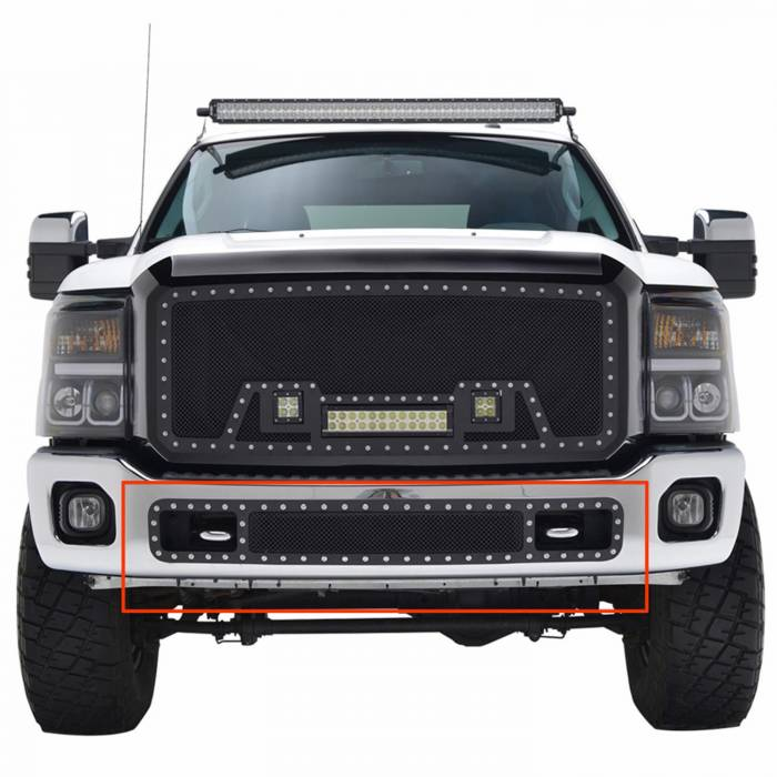 Paramount - 11-16 Ford F-250/350 Bumper Evolution Black Stainless Steel Overlay Grille