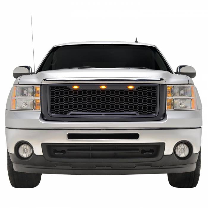 Paramount - 07-13 GMC Sierra 1500 Matte Black ABS LED Impulse Mesh Grille