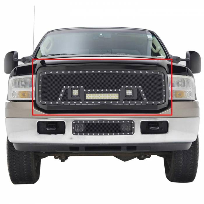 Paramount - 05-07 Ford SuperDuty F-250,350,450,550 Evolution Matte Black Stainless Steel Grille