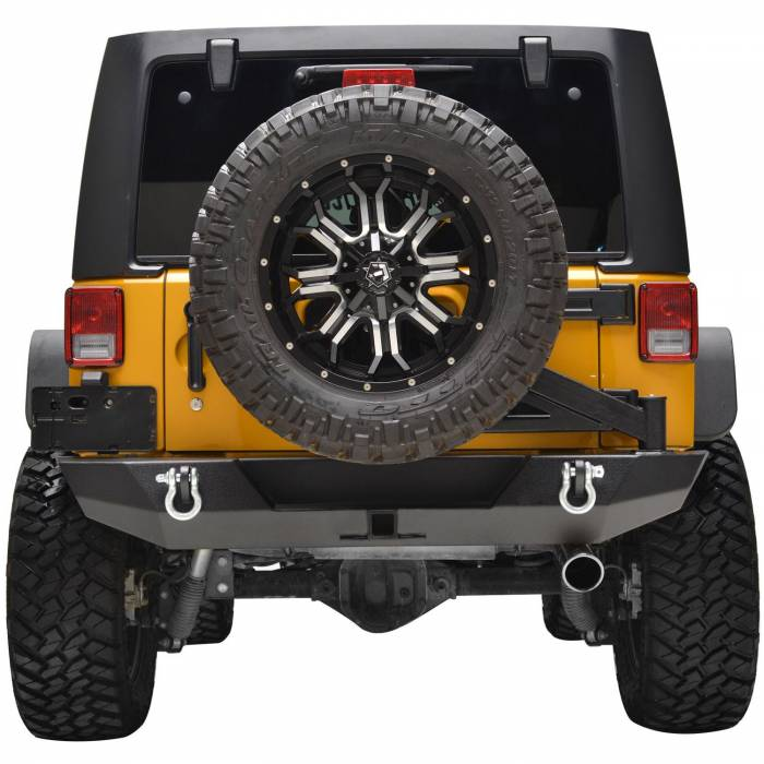 Paramount - 07-18 Jeep Wrangler JK Body Width Rear Bumper with Tailgate Tire Carrier
