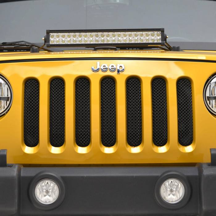 Paramount - 07-18 Jeep Wrangler JK Black Stainless Steel Wire Mesh Grille Insert