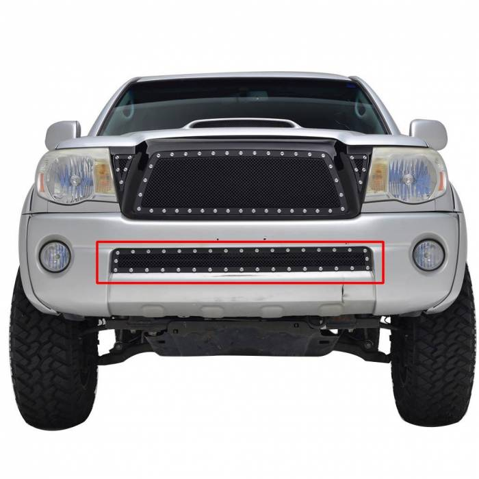 Paramount - 05-11 Toyota Tacoma Evolution Black Stainless Steel Bumper Overlay Grille