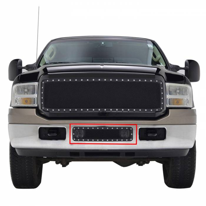 Paramount - 05-07 Ford SuperDuty/Excursion Bumper Evolution Black Stainless Steel Overlay Grille