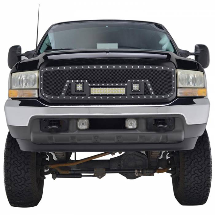 Paramount - 99-04 Ford SuperDuty F-250,350,450,550 Evolution Matte Black Stainless Steel Grille