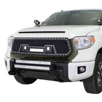 Paramount Automotive - Evolution All Matte Black Stainless Steel Wire Mesh Grille With Three LED Lights #48-0846 - Image 3