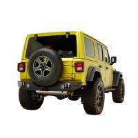 Paramount Automotive - 18-19 Jeep Wrangler JL Rock Crawler Rear Bumper + Two 12W LED Lights and Color Light Frames #51-8010L