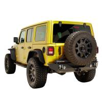 Paramount Automotive - 18-19 Jeep Wrangler JL Rear Bumper with Secure Lock Tire Carrier + Two12W LED Lights and Color Light Frames and Adaptor for OE back-up Camara #51-8011L - Image 2