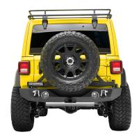 Paramount Automotive - 18-19 Jeep Wrangler JL Rear Bumper with Secure Lock Tire Carrier + Two12W LED Lights and Color Light Frames and Adaptor for OE back-up Camara #51-8011L - Image 3