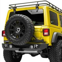 Paramount Automotive - 18-19 Jeep Wrangler JL Rear Bumper with Secure Lock Tire Carrier + Two12W LED Lights and Color Light Frames and Adaptor for OE back-up Camara #51-8011L - Image 4