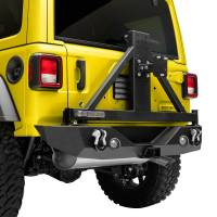 Paramount Automotive - 18-19 Jeep Wrangler JL Rear Bumper with Secure Lock Tire Carrier + Two12W LED Lights and Color Light Frames and Adaptor for OE back-up Camara #51-8011L - Image 5